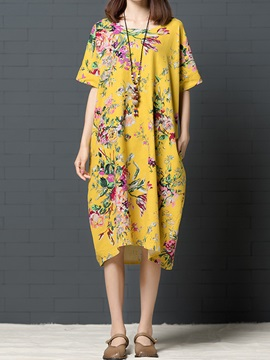 Tidebuy Animal Cotton Blends Womens Casual Dress