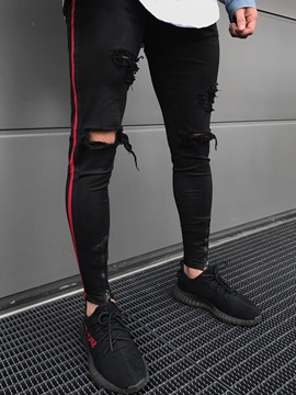 Tidebuy Strip Color Block Worn Slim Mens Pants