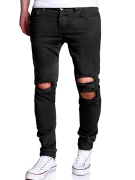 Tidebuy Plain Hole Cut Pocket Mens Skinny Jeans