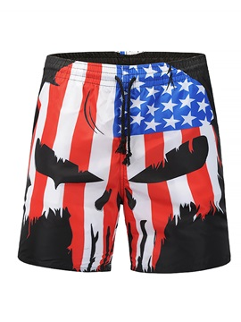Tidebuy Print Lace Up Mens Swim Board Shorts