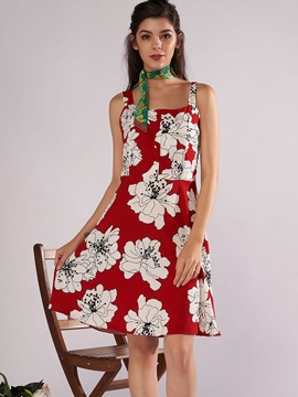 Tidebuy Red Floral Print Womens A Line Dress