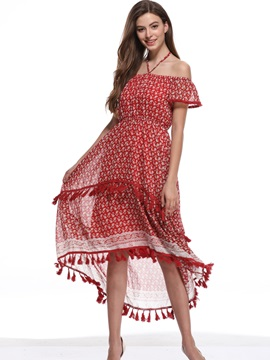 Tidebuy Tassel Off The Shoulder Womens Maxi Dress