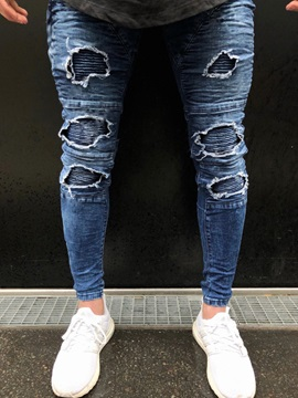 Tidebuy Hole Worn Slim Mens Skinny Ripped Jeans