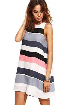 Tidebuy Strips A Line Short Day Dress