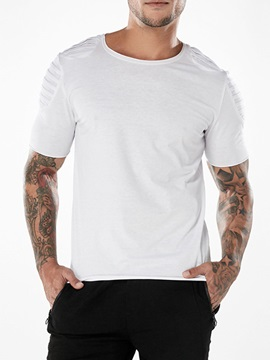 Tidebuy Plain Pleated Summer Short Sleeve Mens T Shirt