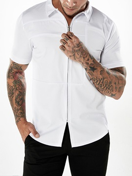 Tidebuy Plain Zipper Mens Short Sleeve Shirt