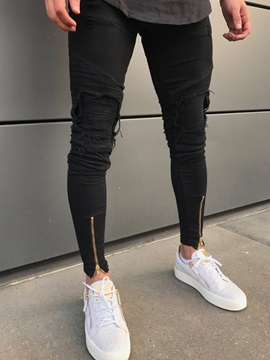 Tidebuy Black Hole Worn Pleated Mens Ripped Skinny Jeans