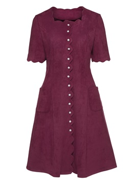 Tidebuy Single Breasted Cotton Blends Womens A Line Dress