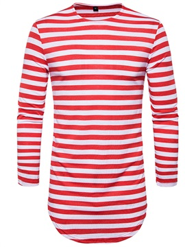 Tidebuy Vertical Striped Long Sleeve Mens Long T Shirt