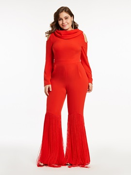 Tassel Hollow Wide Legs Plus Size Womens Jumpsuit