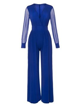 Mesh Wide Legs Patchwork Womens Jumpsuits