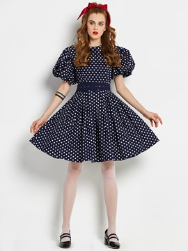 Tidebuy Puff Sleeve Cotton Womens Skater Dress