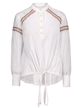 Embroidery Stand Collar Womens Blouse