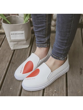 Pu Heart Round Toe Slip On Womens Flats