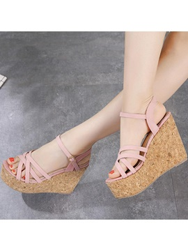 Pu Peep Toe Ankle Strap Platform Wedge Heel Womens Sandals