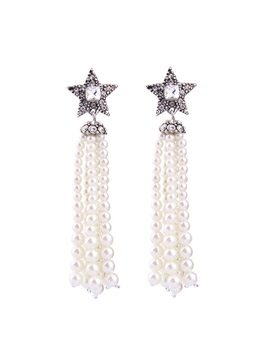 Sweet Pearl Tassel Design Drop Earrings