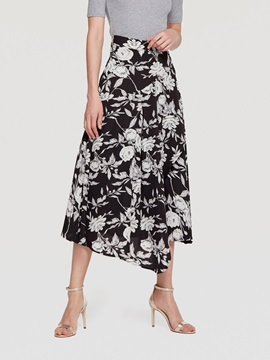 Mid Calf Expansion Print Womens Skirt