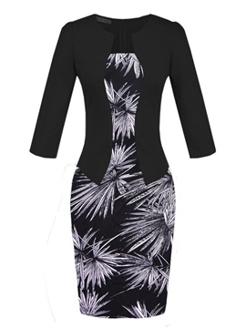 Tidebuy 3 4 Sleeves Double Layer Pencil Dress