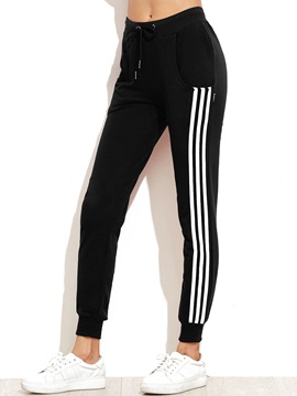 Tidebuy Ankle Length Strip Pencil Pants