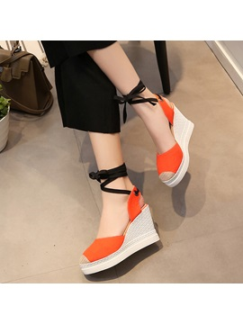 Canvas Lace Up Strappy Wedge Heel Womens Sandals