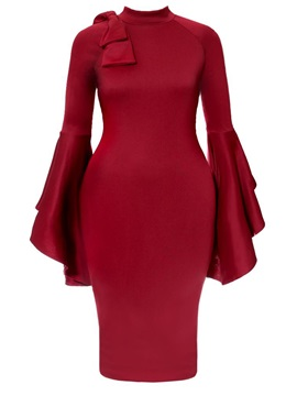 Tidebuy Plain Flare Stand Collar Womens Bodycon Dress