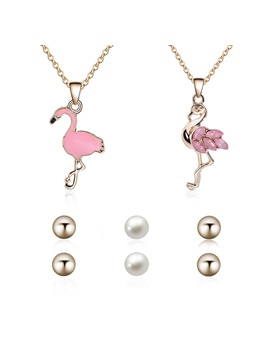 Childlike Flamingo Shape Necklace Pearl Earrings Jewelry Sets