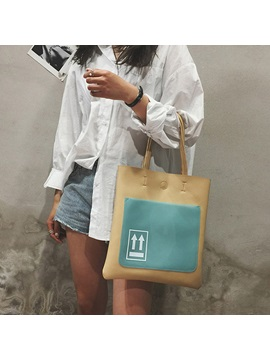 Summer Fresh Fashion Color Block Tote Bag