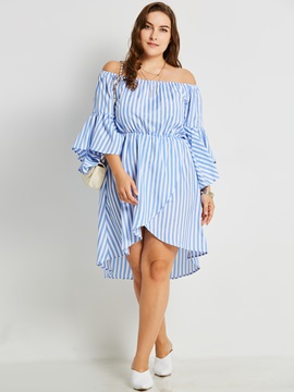 Backless Polyester Stripe Womens Casual Dress
