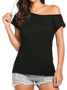 Oblique Collar Plain Womens T Shirt