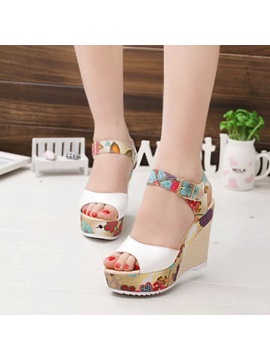 Pu Floral Peep Toe Strappy Wedge Heel Womens Sandals