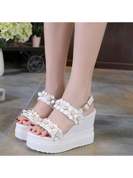 Floral Platform Wedge Heel Womens Sandals
