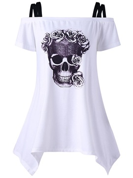 Slash Neck Print Skull Womens T Shirt