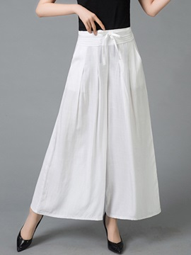 Lace Up Wide Legs Womens Casual Pants