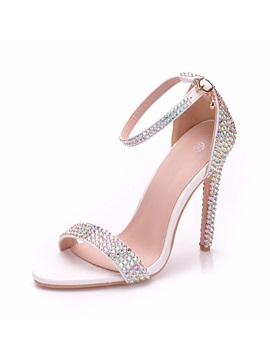 Rhinestone Heel Covering Stiletto Heel Wedding Shoes