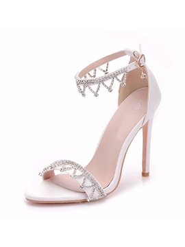 Pu Rhinestone Stiletto Heel Womens Wedding Shoes