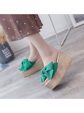 Bow Wedge Heel Womens Slide Sandals
