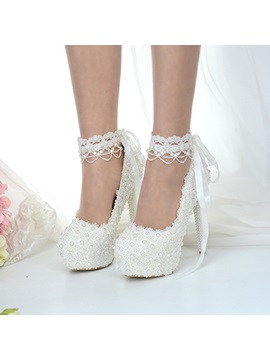 Beads Lace Up Platform Stiletto Heel Wedding Shoes