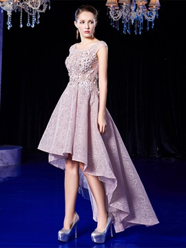 A Line Lace Appliques Scoop High Low Homecoming Dress
