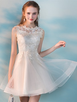A Line Appliques Lace Scoop Homecoming Dress