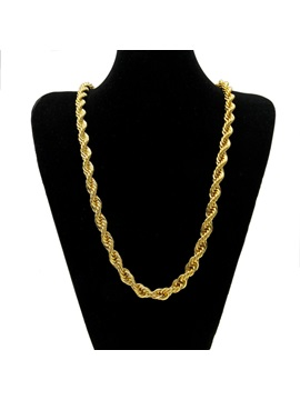 Hip Hop Gold Plated Torsion Rope Chain Mens Necklace