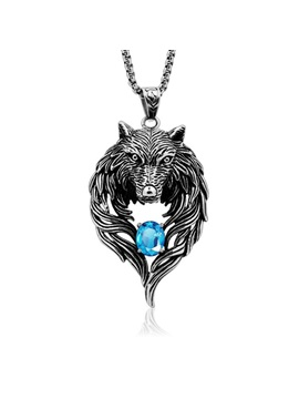 Wolf Shape Gemstone Decorated Mens Necklace