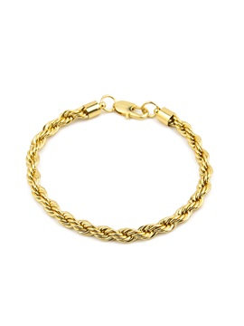 Hiphop Gold Plating Torsion Design Mens Bracelet