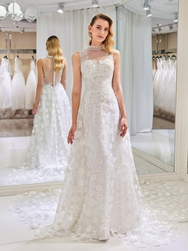 Appliques Lace High Neck Wedding Dress