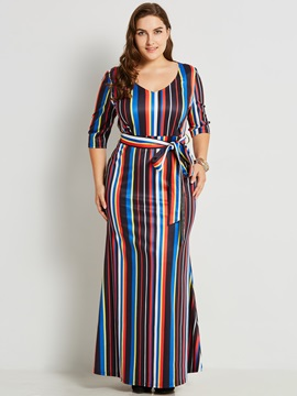 Pullover V Neck Plus Size Womens Maxi Dress