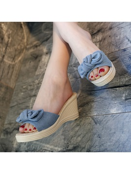 Denim Wedge Heel Womens Slide Sandals