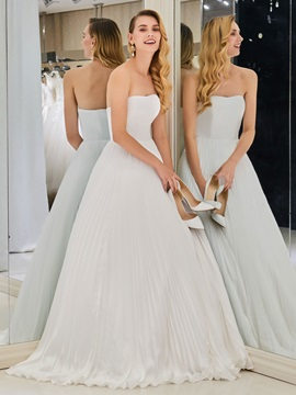 A Line Strapless Pleats Beach Wedding Dress
