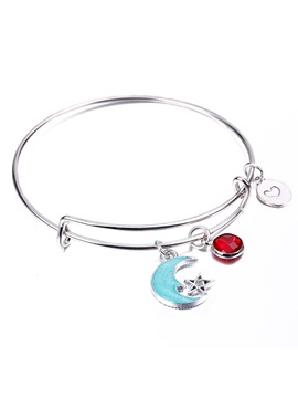 New Style Moon Star E Plating Adjustable Birthstone Bangle