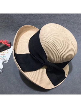 Bow Knot Embellished Rolled Brim Straw Sun Hat