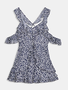Cold Shoulder Floral Womens Sexy Dress