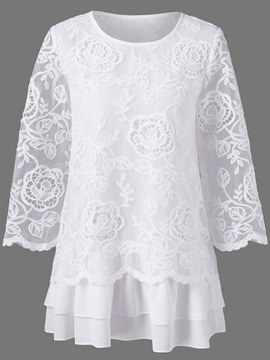 Lace Mesh Round Neck Womens Blouse